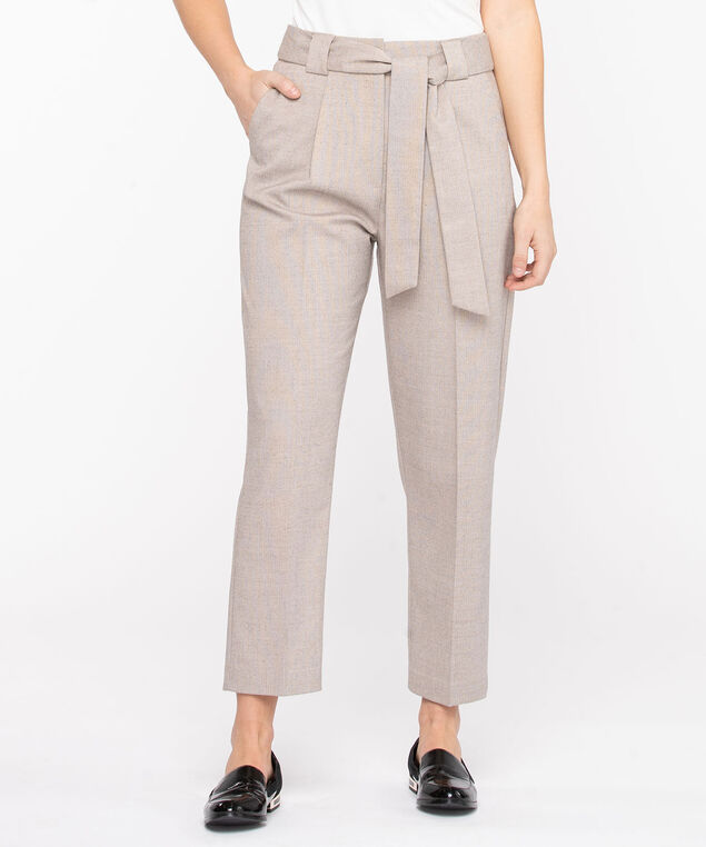 Textured Tie Belt Tapered Pant, Cement