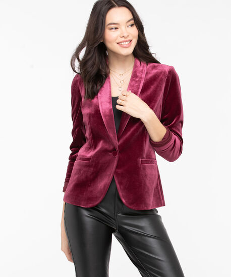 Velvet Single Button Blazer, Windsor Wine, hi-res