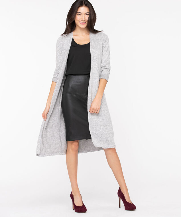 Open Front Duster Cardigan, Heather Grey, hi-res