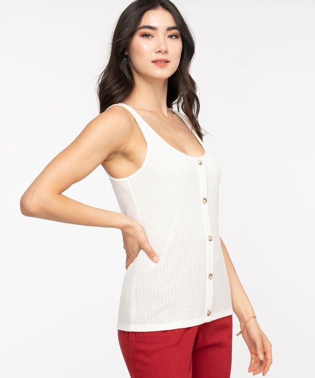 Sleeveless Button Front Sweater Top, Natural