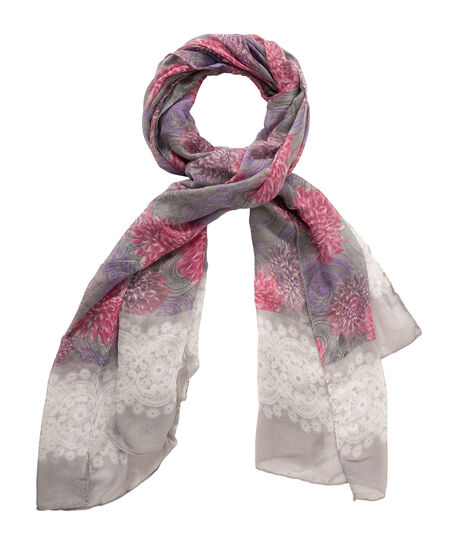 Floral Mixed Print Oblong Scarf, Grey/Pink/Purple, hi-res