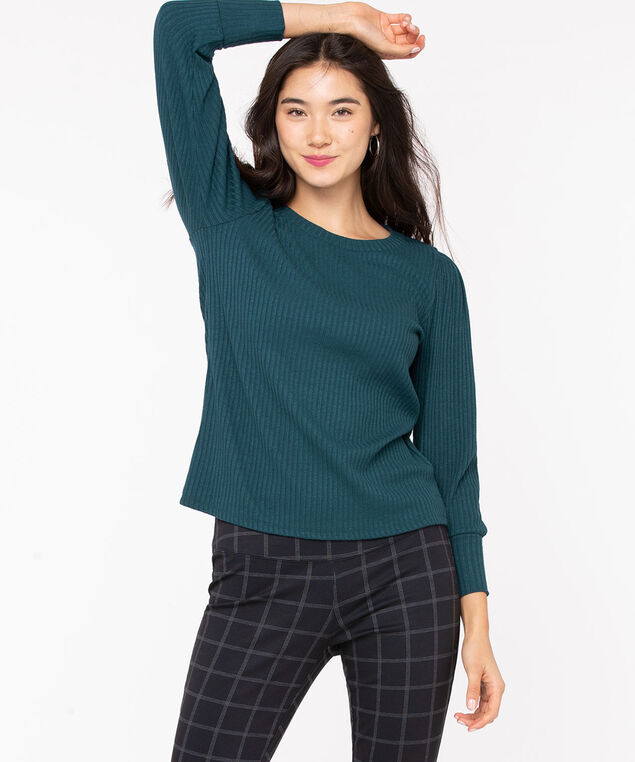 Balloon Sleeve Lightweight Knit Top, Teal, hi-res