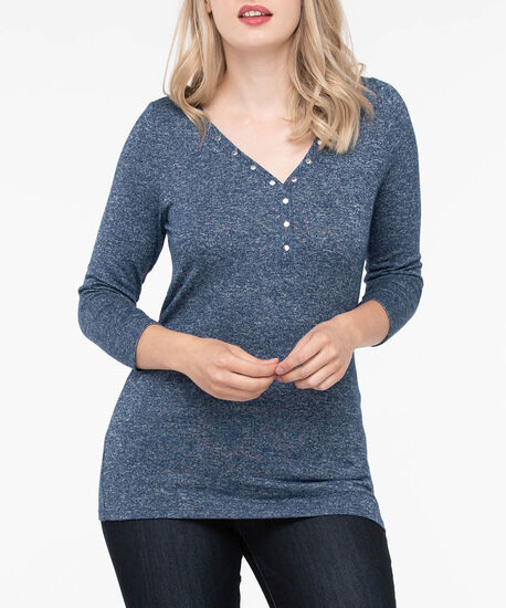 Stud Detail Henley Knit Top, Inky Blue, hi-res