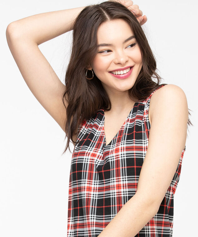 Eco-Friendly Sleeveless V-neck Top, Poppy Red/Black Plaid