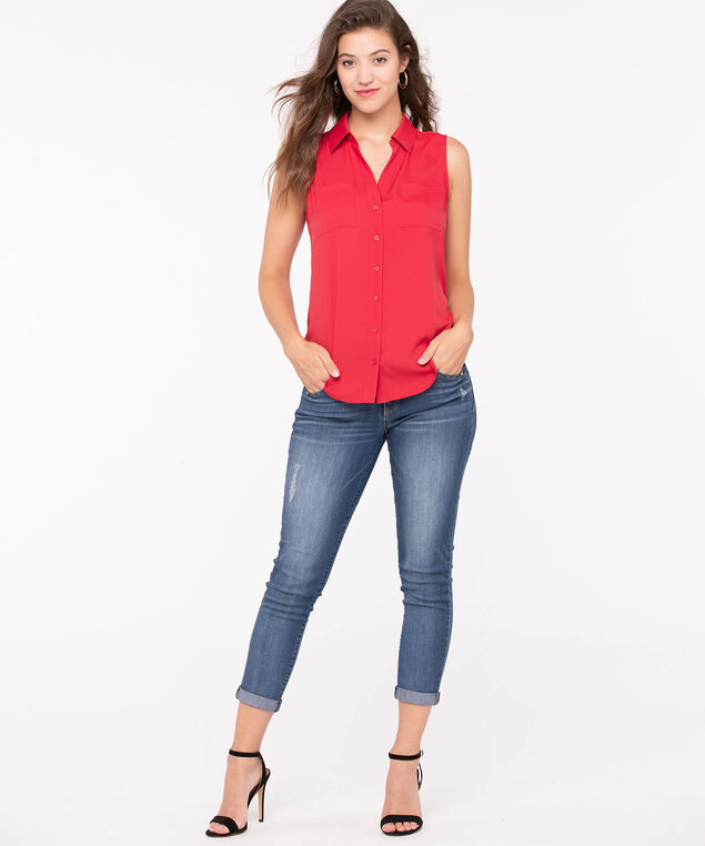 Sleeveless Button-Front Collared Shirt, Hibiscus, hi-res