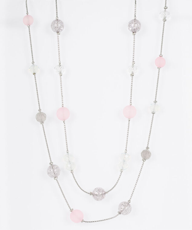 Stationed Bead Statement Necklace, Rhodium/Dusty Blush, hi-res