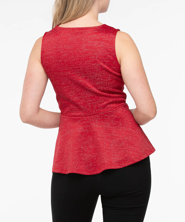 Sleeveless Sparkly Peplum Top, Crimson, hi-res
