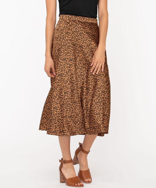 Leopard Print Midi Skirt, Black/Brown, hi-res
