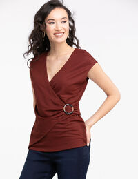 Buckled Faux Wrap Top