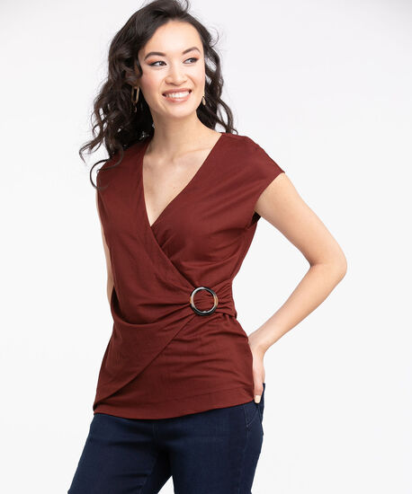 Buckled Faux Wrap Top, Burnt Henna, hi-res