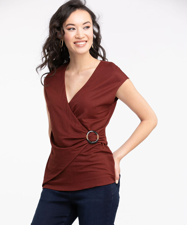 Buckled Faux Wrap Top, Burnt Henna