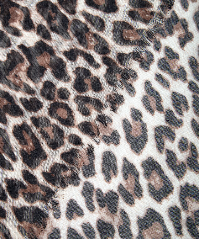 Leopard Print Oblong Scarf, Almond/Brown, hi-res