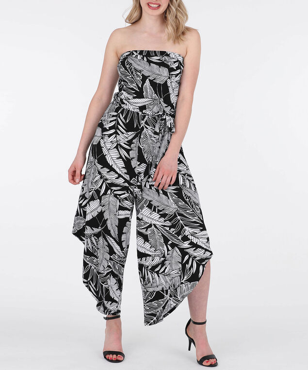 Tropical Print Bandeau Jumpsuit, Black/Pearl, hi-res