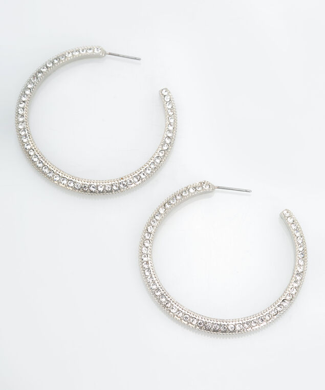 Crystal Hoop Earring, Rhodium, hi-res