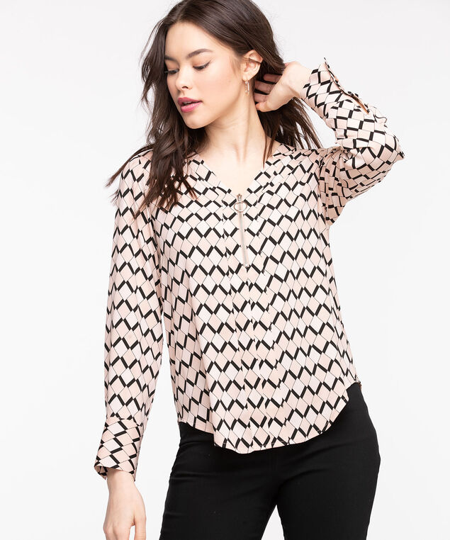 Zipper Front Popover Blouse, Rose Smoke Geo