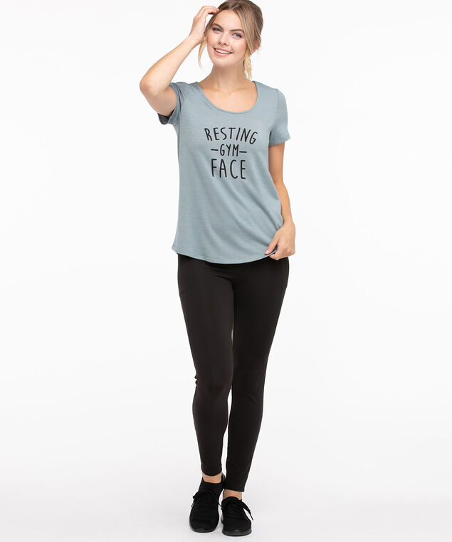 Hacci Scoop Neck Graphic Tee, Lead/Gym Face