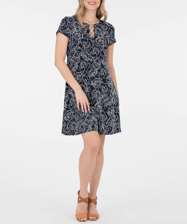 Puff Print O-Ring Dress, Summer Navy/Pearl, hi-res