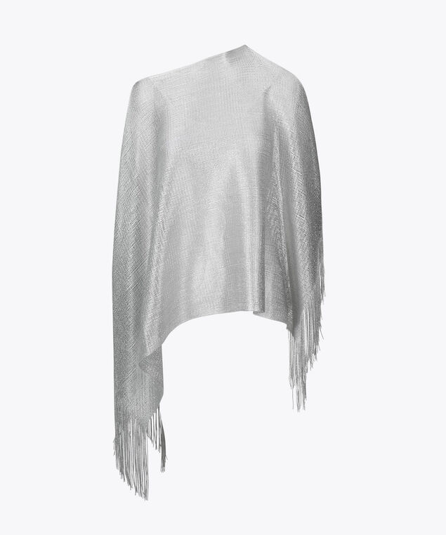 Metallic Fringed Poncho, Silver, hi-res