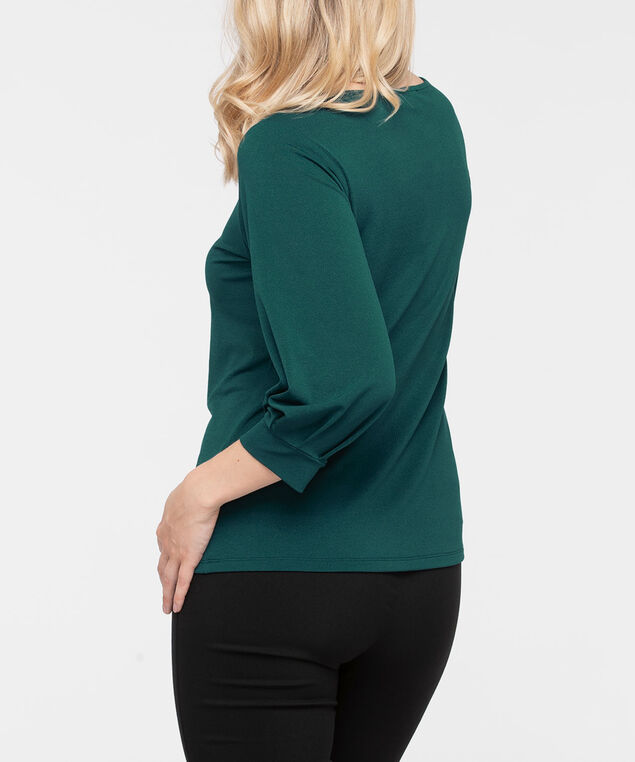 3/4 Sleeve Boat Neck Top, Ivy, hi-res