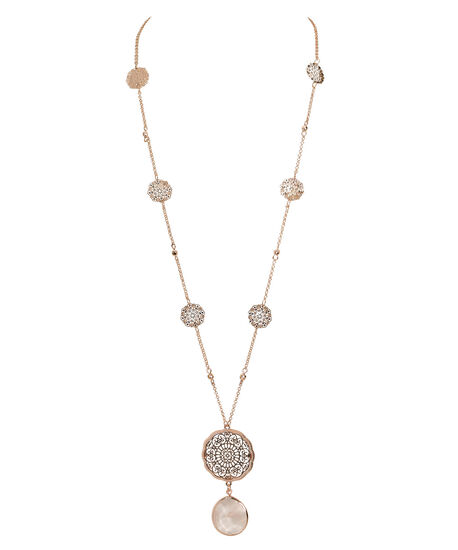 Filigree & Natural Stone Necklace, Blush/Rose Gold, hi-res