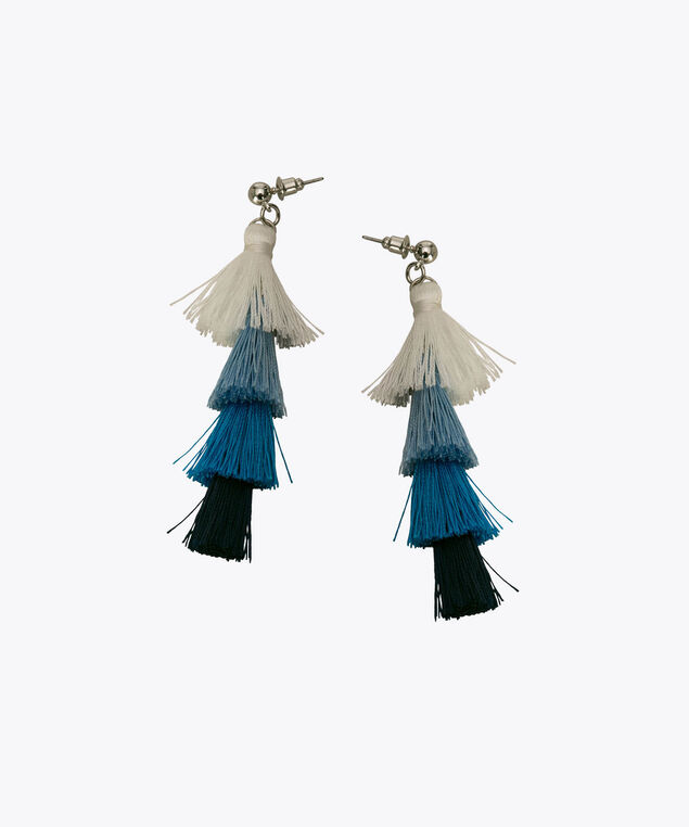 Tiered Tassel Earring, Ink Blue/Sky Blue, hi-res