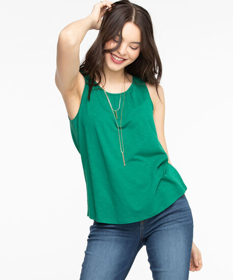 Sleeveless Gathered Neck Top, Green, hi-res