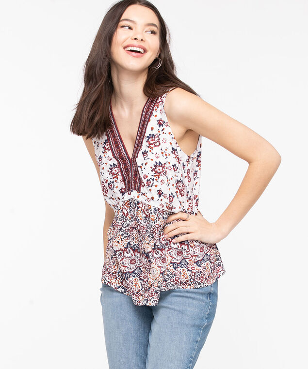 Sleeveless Floral Peplum Blouse, Pearl/Chili Pepper/Navy, hi-res