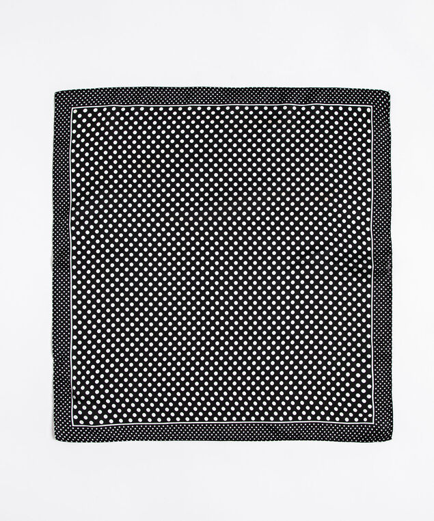 Polka Dot Square Scarf, Black/White