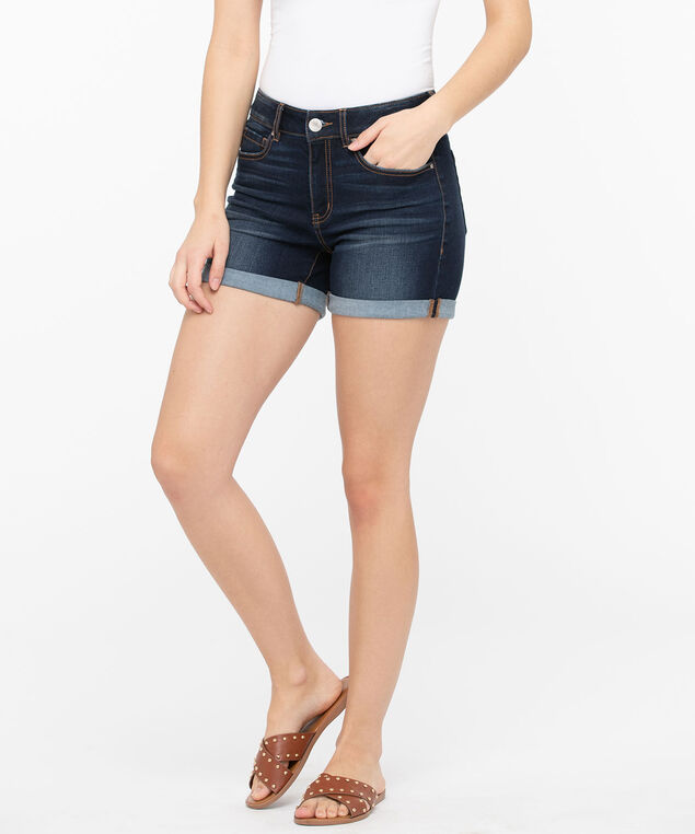 Dark Wash Cuffed Denim Short, Dark Wash, hi-res