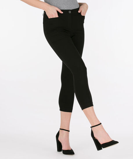 Microtwill Fly Front Crop Pant, Black, hi-res