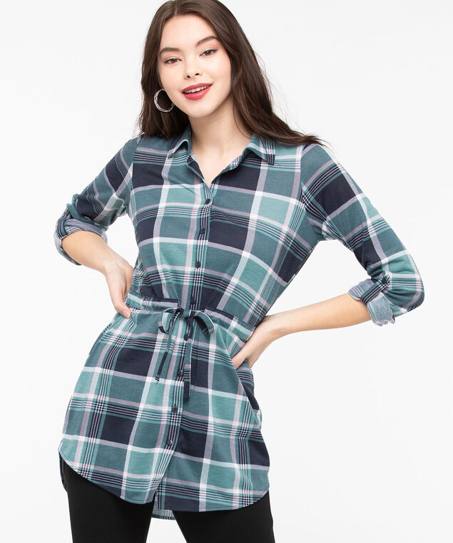 Plaid Button Front Tunic Top, Midnight Teal/Rose Petal, hi-res