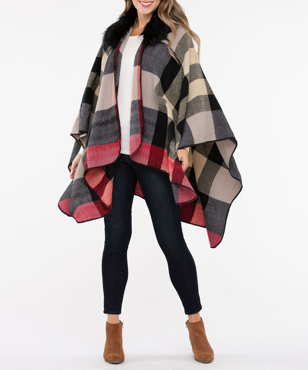 Faux Fur Trim Plaid Ruana, Crimson/Camel/Black, hi-res