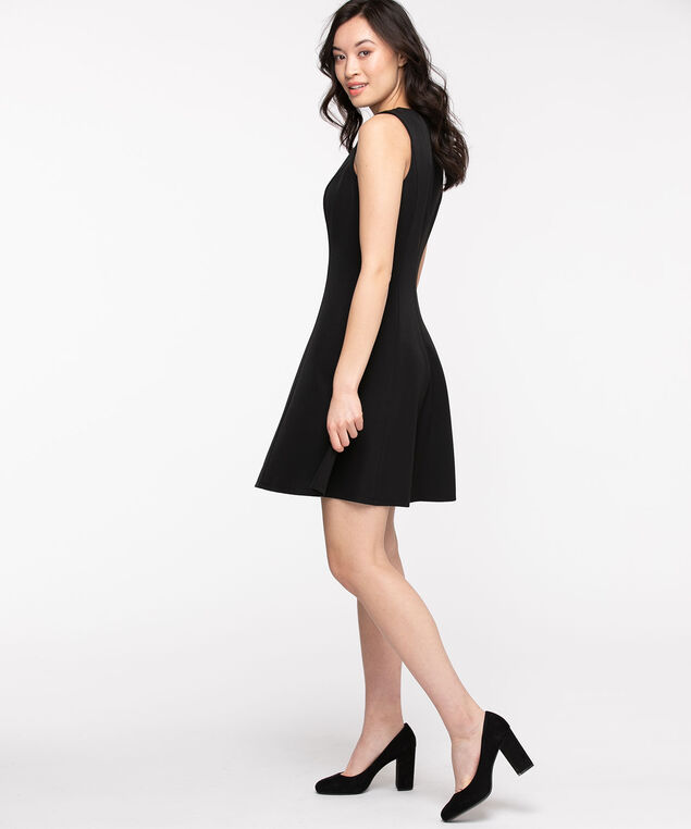 CUT-OUT FIT & FLARE DRESS, Black