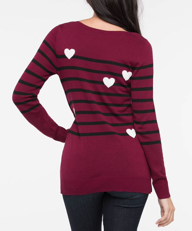 Hearts & Stripes Boatneck Pullover, Burgundy/Black/Pearl, hi-res