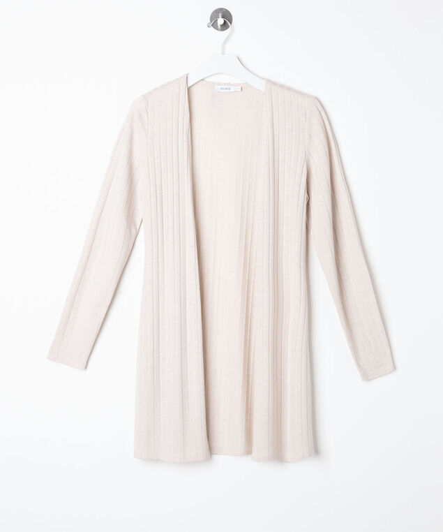 Ribbed Longline Open Cardigan, Off White, hi-res
