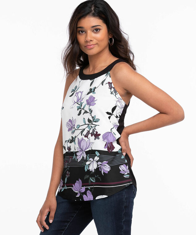 Mixed Media Halter Top, White/Black/Purple/Green Floral