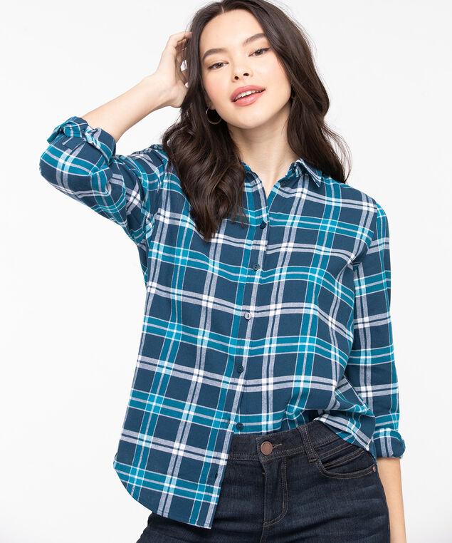 Plaid Cotton Flannel Blouse, Bijou Blue/Reef Waters, hi-res