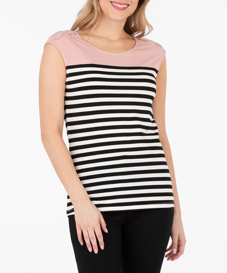 Lace Up Extended Sleeve Top, Petal Pink/Black/Pearl, hi-res