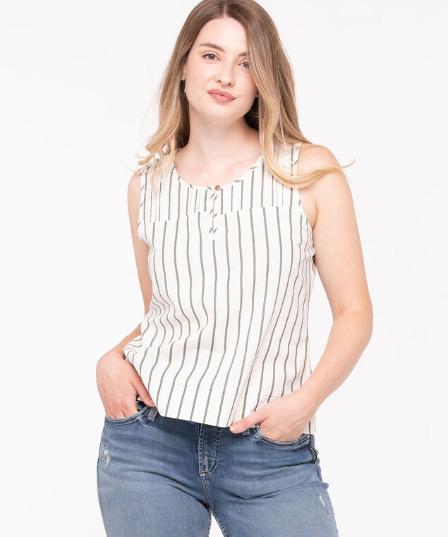 Pleated Neck Striped Blouse, Pearl/Basil, hi-res