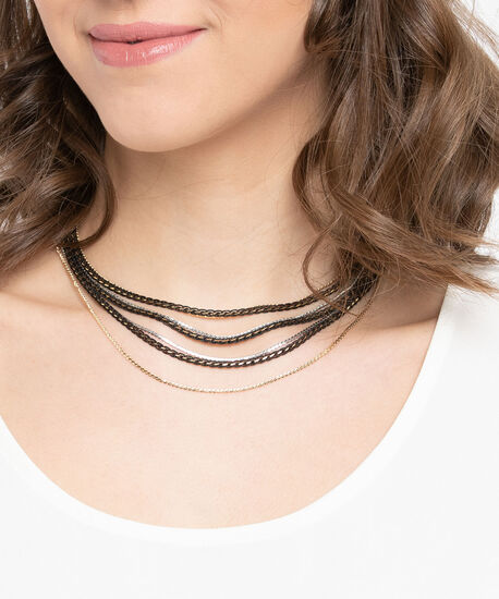Mixed Metal Chain Statement Necklace, Black/Gold/Rhodium, hi-res