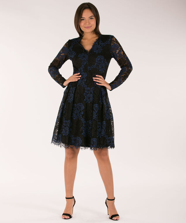 Lace Fit & Flare V-Neck Dress, Deep Sapphire/Black, hi-res