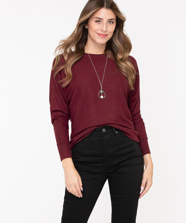 Dolman Sleeve Lightweight Knit Top, Roasted Beet, hi-res