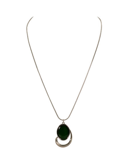 Oval Cateye Pendant Necklace, Jade/Rhodium, hi-res