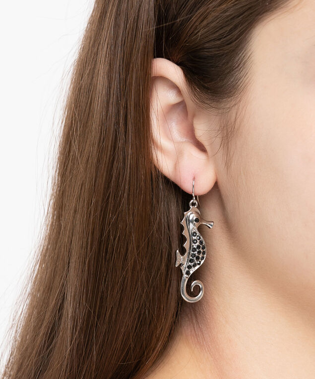 Crystal Seahorse Earring, Black/Rhodium, hi-res