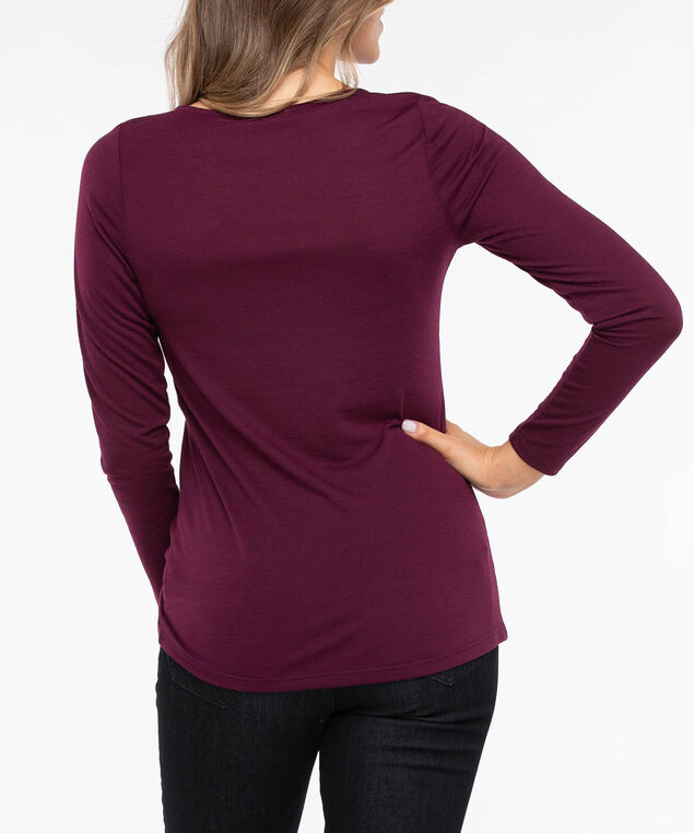 Long Sleeve Knot Front Top, Berry, hi-res