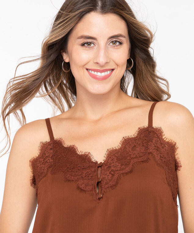 Eco-Friendly Strappy Lace Trim Cami, Rust, hi-res