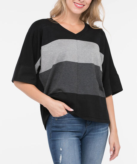 Colourblock BatWing Sweater, Black/Grey/Charcoal, hi-res