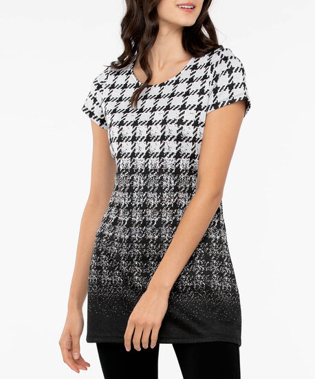 Ombre Houndstooth Tunic, Black/Light Grey, hi-res
