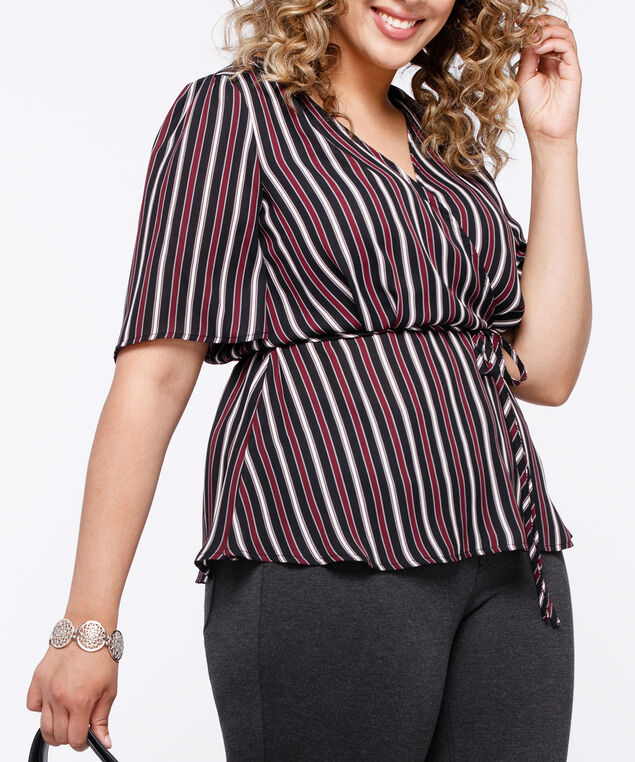 Short Sleeve Tie Waist Blouse, Burgundy/Black/Pearl/Grey, hi-res