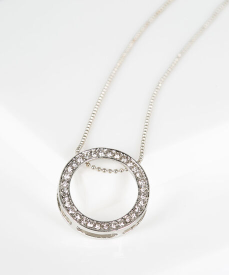 Pave Hoop Pendant Necklace, Rhodium, hi-res